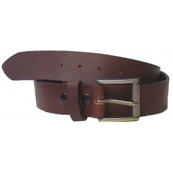 "GENUINE Cowhide LEATHER CANADIAN MADE BELT PLAIN 40MM (1-1/2"") - Brown"