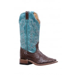 Boulet 5528 Smooth Ostich Kango Taba West Turquesa Wide Square Toe Boots