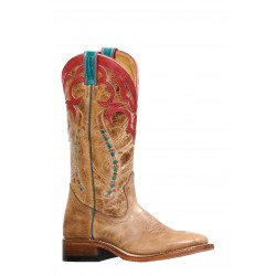 Boulet 8236 Dublin Taupe/Deerlite Red Wide Square Toe Boots