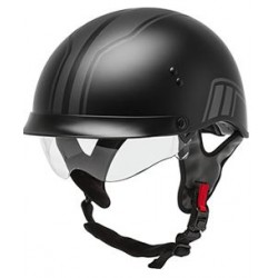 Gmax HH-65 Twin Full Dressed Half Helmet-Matte Black/Silver