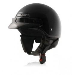 Half helmet with Removable Ear curtain - BANOS STG Glossy Black