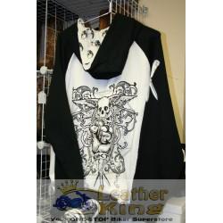 BKT Black & White Skulls Hoodie