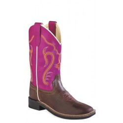 OLD WEST Brown Canyon Foot/Dark Pink Boot - Youth