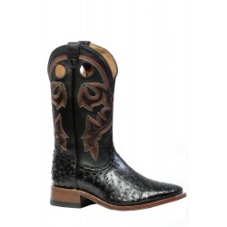 Boulet Mens Smooth Black Ostrich - Wide Square Toe boot 4505