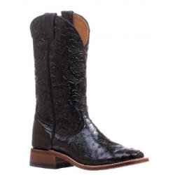 """Boulet Ladies 13"""" Ostrich Dankan Black wide square toe boot 5525"""