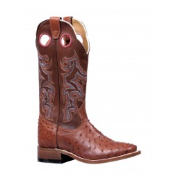 Smooth Ostrich Maddog Brandy Wide Square Toe Boot 5526