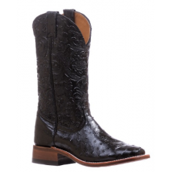 Boulet Ladies Smooth Ostrich Dankan Black Wide Square Toe Boot 5527