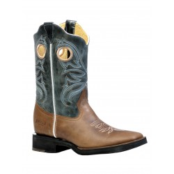 "Boulet's Rugged Country 10"" Mens Tan Blue Sky Leather Wide Square Toe Boot 6500"