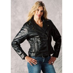 WOMENS BRAID -STUDDED LEATHER JACKET