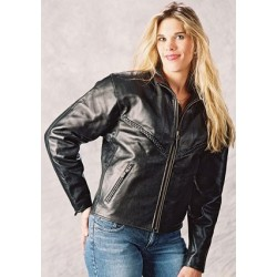 WOMENS Braided cruiser LEATHER JACKET