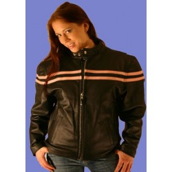 WOMENS Pink stripe Leather Jacket