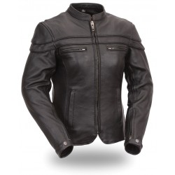 First Manufacturing's -Women's Sporty Riding Jacket Brown