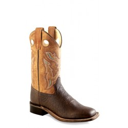 Old West BSY1819 Youth Leather Boots (Goodyear Welted) Broad Square Toe Boots