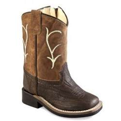 Old West Toddler-Boys' Leather Boot Square Toe - Bsi1819