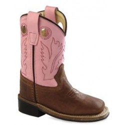 2f52056250f Jama Old West Toddlers' Canyon Brown & Pink Western Boot with Square Toe  (BSI1839)