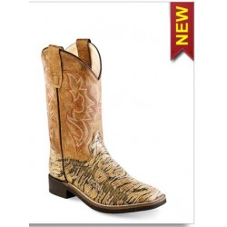 Old West VB9116 Kids Brown Lizard Print Broad Square Toe Boot