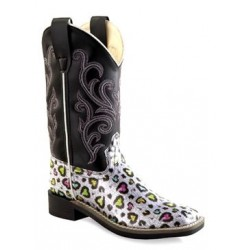 Old West Girls' Multi-Color Heart Western Boot Square Toe - Vb9123